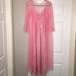 Barbizon 2 pc nightgown peignoir VTG set pink (G25